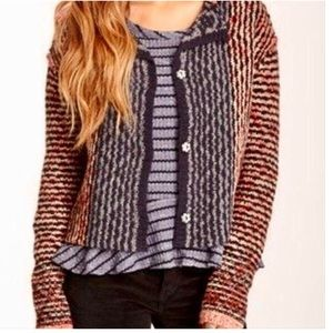 Free People Chunky Crop Open Back Cardigan
